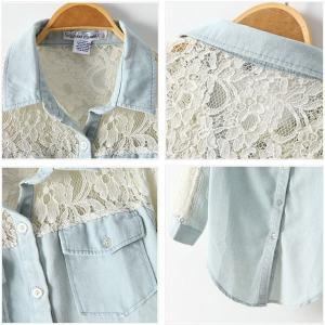 ac6d795851 Sexy Hollow Lace Denim Shirt on Luulla