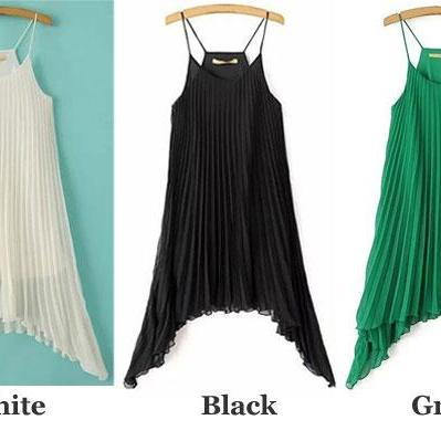 Fresh Green Irregular Hem Pleated C..