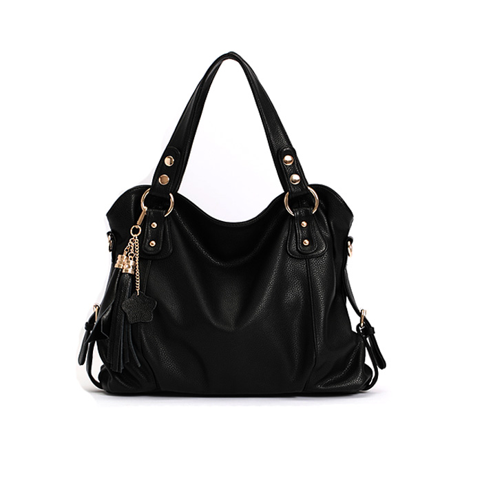 Elegant Tassel Black Handbag Shoulder Bag