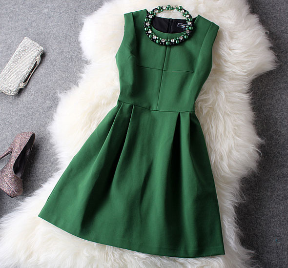 Fresh Green With Beading Party Dress(Gift Necklace)
