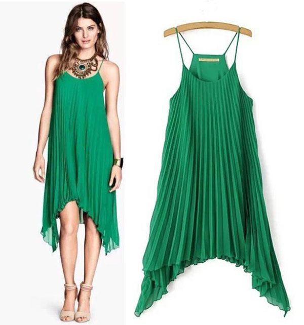 Fresh Green Irregular Hem Pleated Chiffon Dress