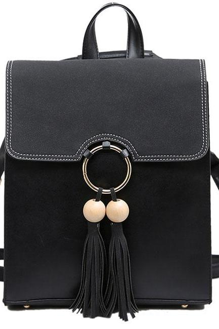 Sweet Pure Color PU Tassel Circular Ring School Backpack