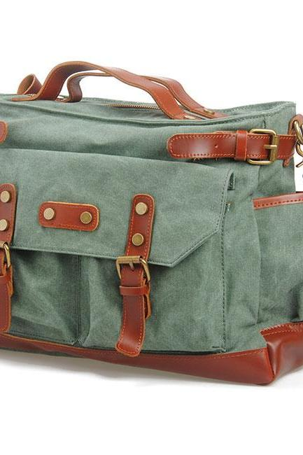 Travel Handbag Thick Canvas Splicing Leather Belt Laptop Shoulder Bag