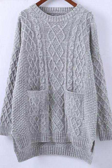 Loose Round Neck Knitted Sweater with Pockets