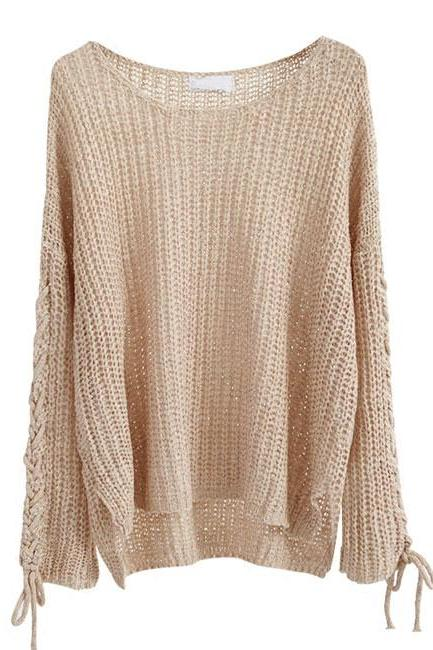 Lace-Up Sleeves Loose Knitted Sweater Featuring Bateau Neckline