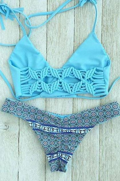 Blue Butterfly Stamp Series Split Swimsuit Beach Bikini Set Swimwear Bathingsuit