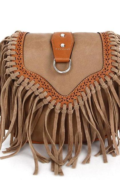 Brown Suede Saddle Shoulder Bag Featuring Tassel Detailing