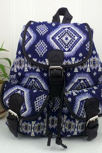 Geometry Gradient Folk Style Printed Leisure Backpack&Schoolbag