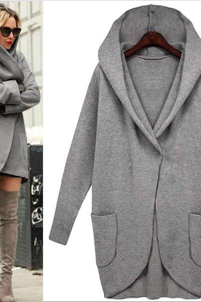 Simple Long-sleeved Loose Wool Jacket With Pocket