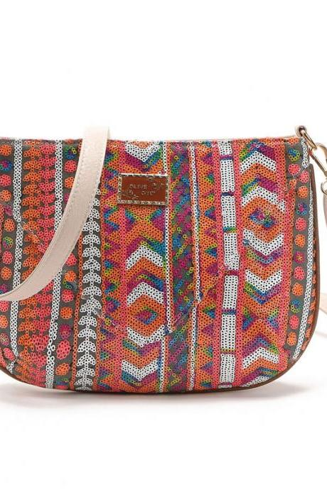 Sequinned Tribal Print Shoulder Bag