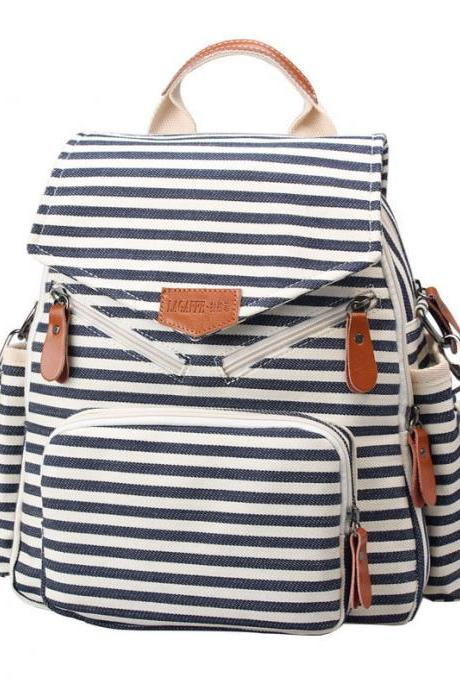 Novelty Striped Canvas New Multifunction Bag Backpack Handbag Shoulderbag