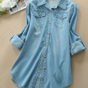 Sweet Polka Dot Blue Loose Denim Shirt