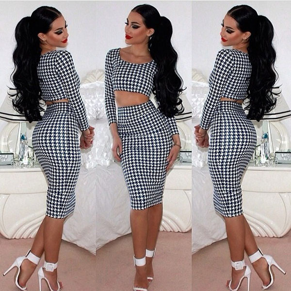 Houndstooth Two Piece Dres..