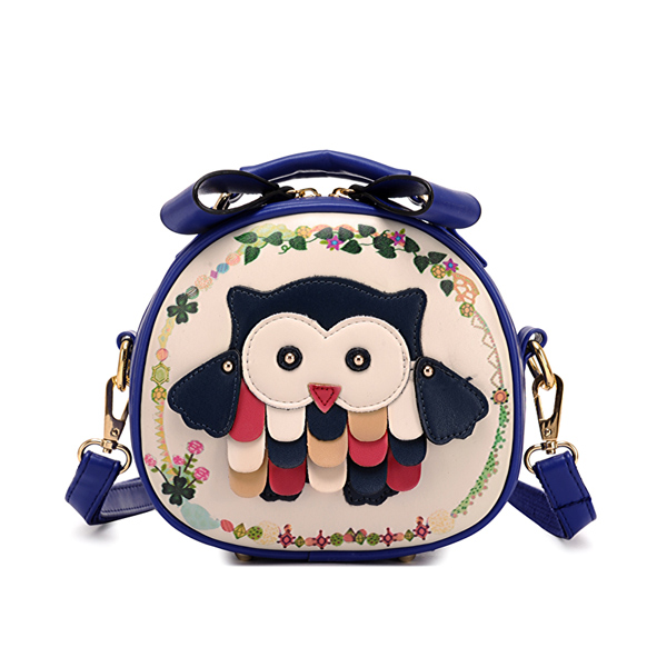 Sweet Owl Patch Mixed Color Messenger Bag