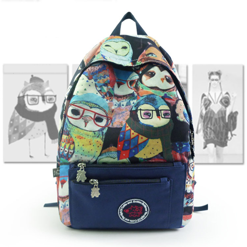 Owl Printing College Canvas School Bag Backpack