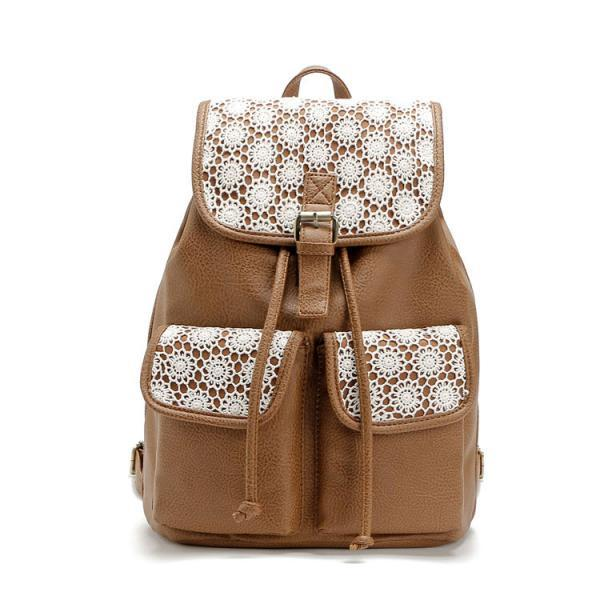 Brown Leather Stitching Lace Leisure Backpack&Schoolbag